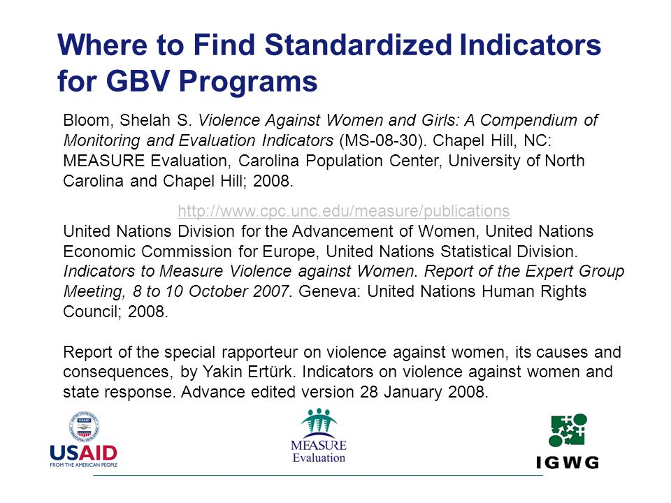Where to Find Standardized Indicators for GBV Programs