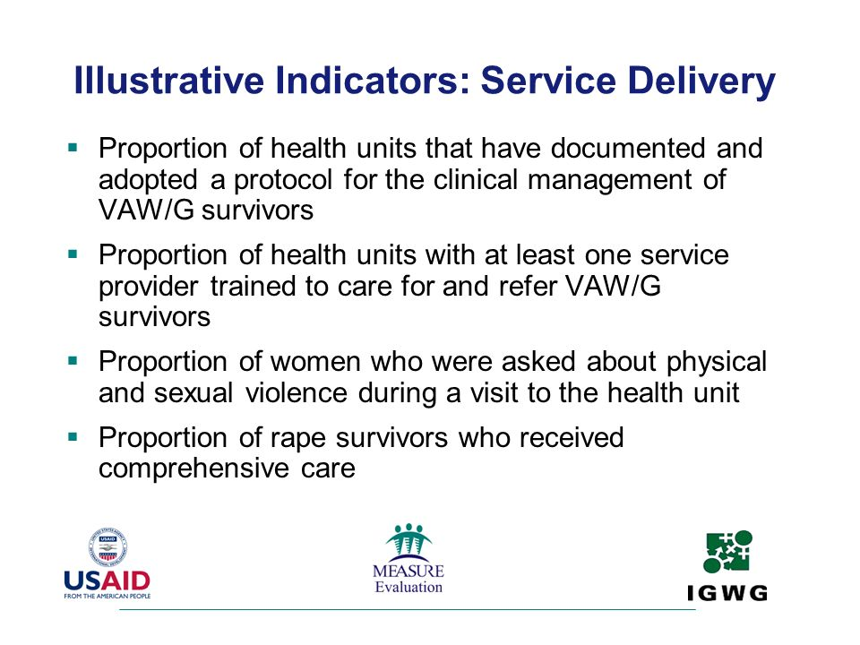 Illustrative Indicators: Service Delivery