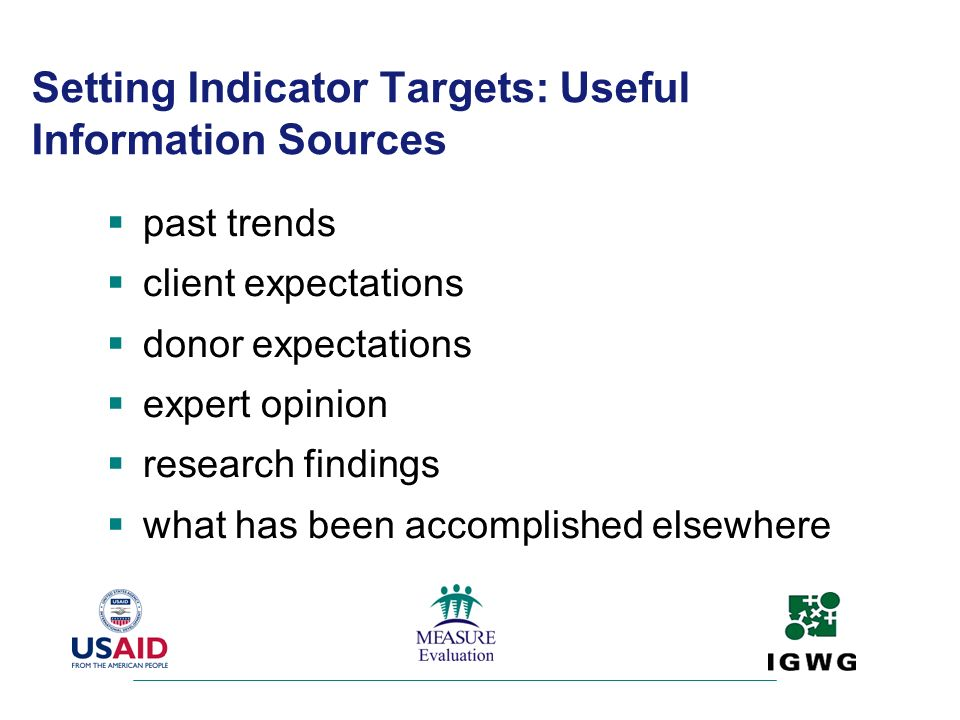 Setting Indicator Targets: Useful Information Sources