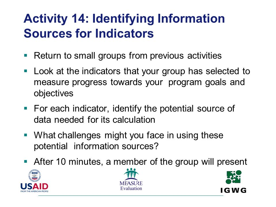 Activity 14: Identifying Information Sources for Indicators