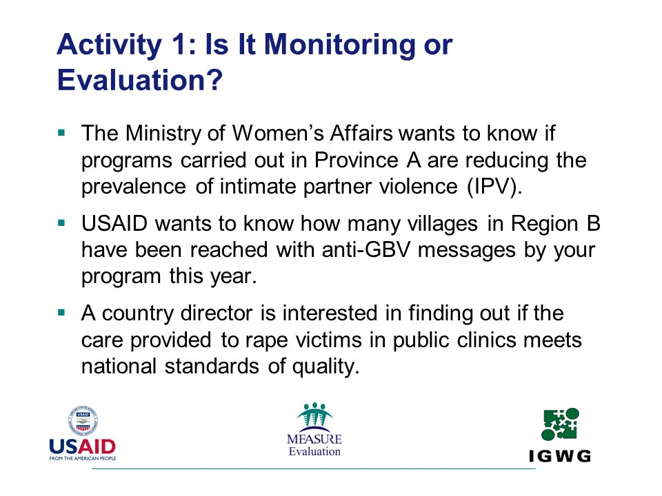 Activity 1: Is It Monitoring or Evaluation