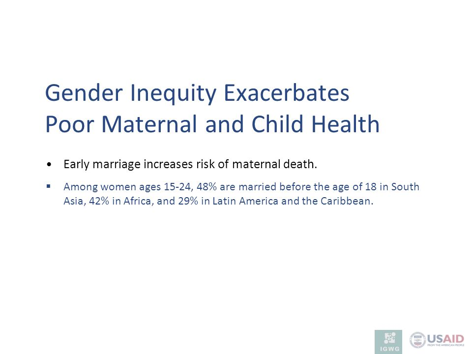 Gender Inequity Exacerbates Poor Maternal and Child Health
