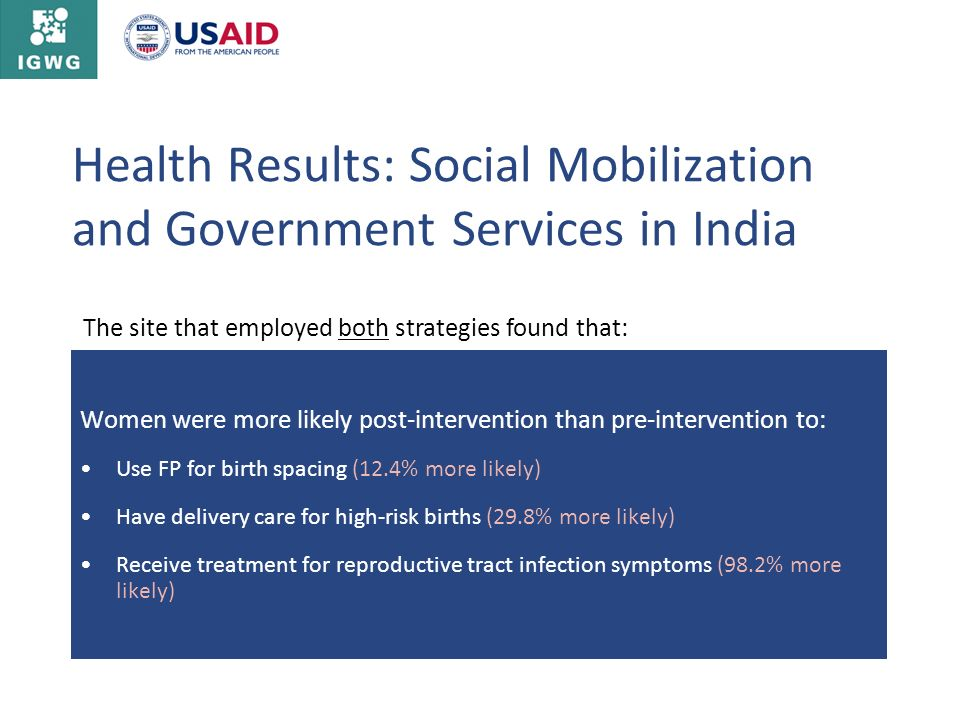Health Results: Social Mobilization and Government Services in India