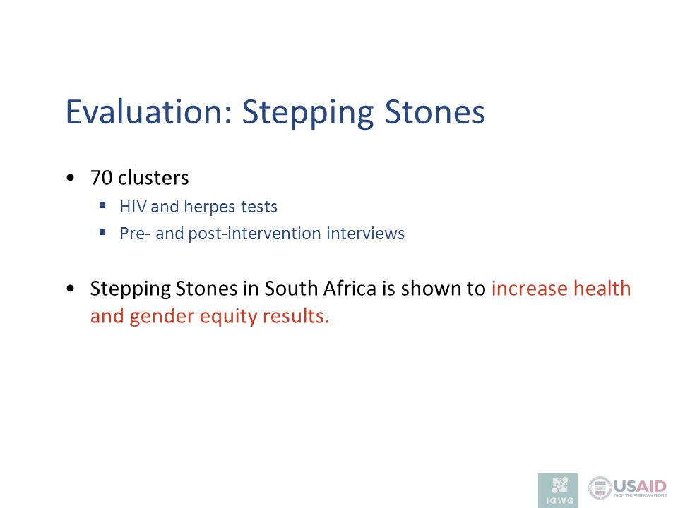 Evaluation: Stepping Stones