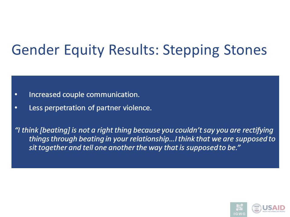 Gender Equity Results: Stepping Stones