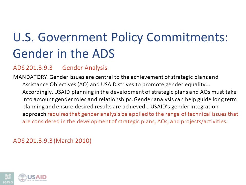 U.S. Government Policy Commitments: Gender in the ADS