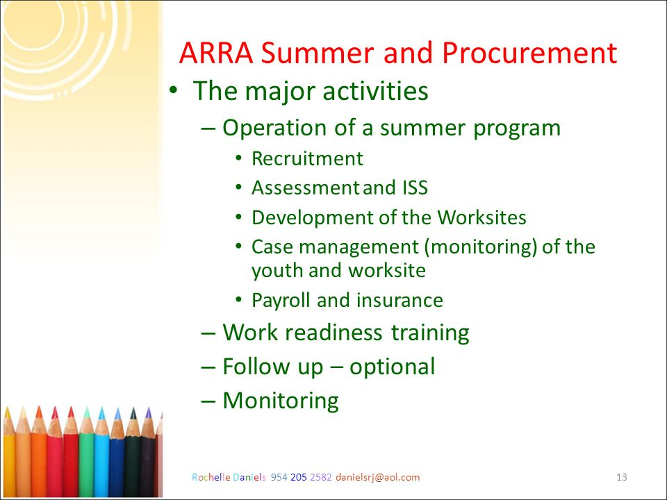 ARRA Summer and Procurement