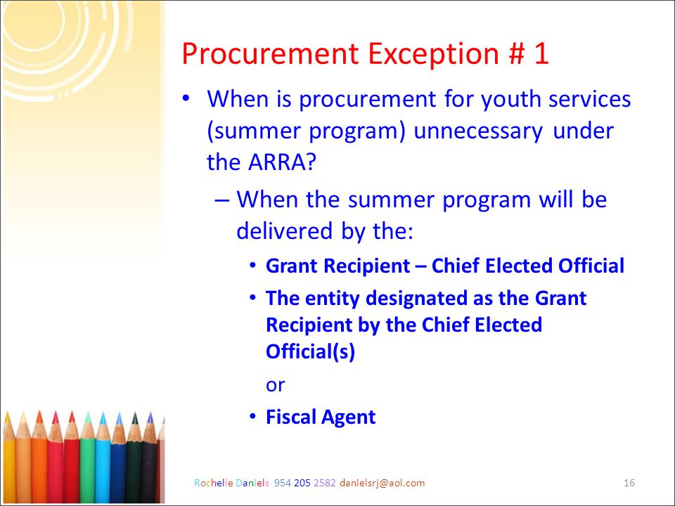 Procurement Exception # 1