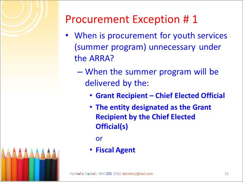 Procurement Exception # 1