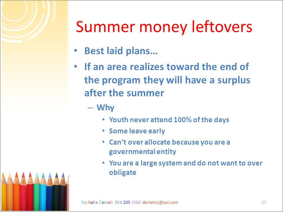 Summer money leftovers