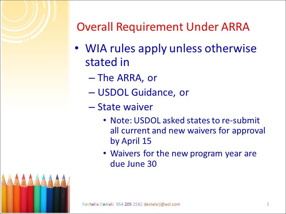 Overall Requirement Under ARRA