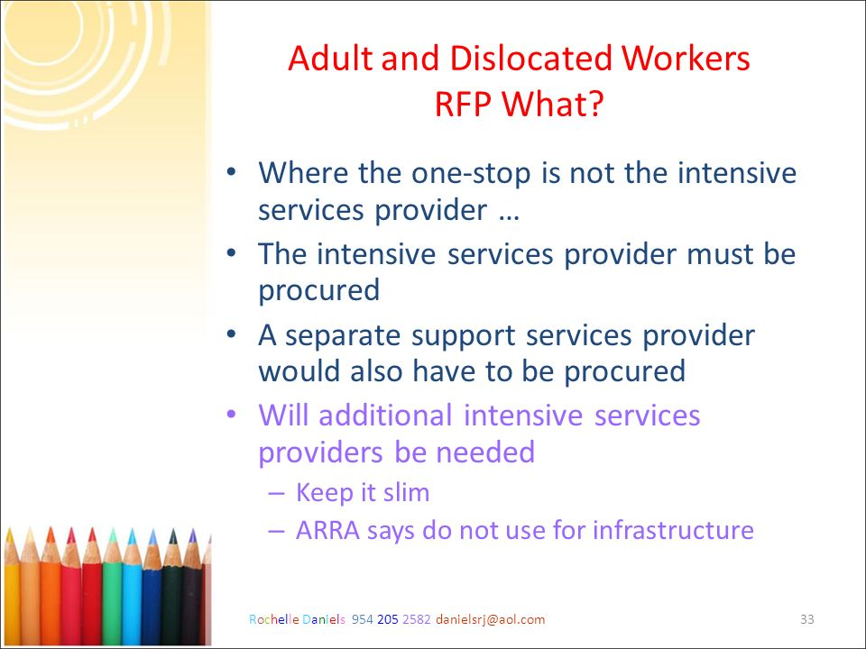 Adult and Dislocated Workers RFP What