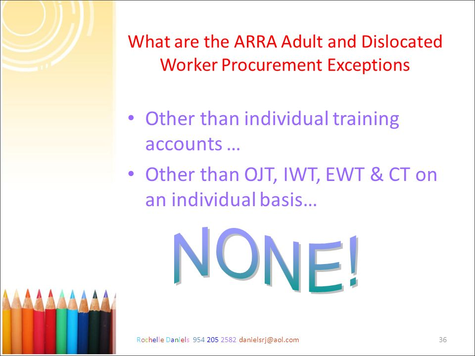 What are the ARRA Adult and Dislocated Worker Procurement Exceptions