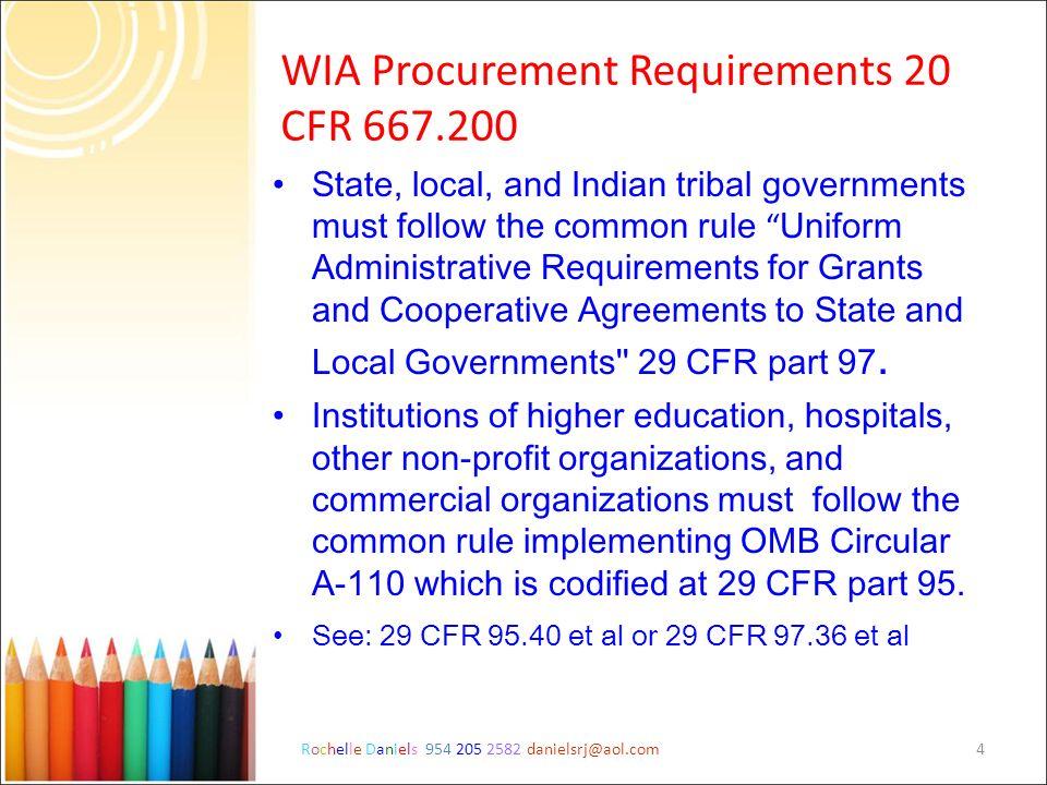 WIA Procurement Requirements 20 CFR 667.200