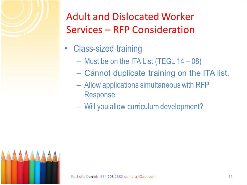 Adult and Dislocated Worker Services – RFP Consideration