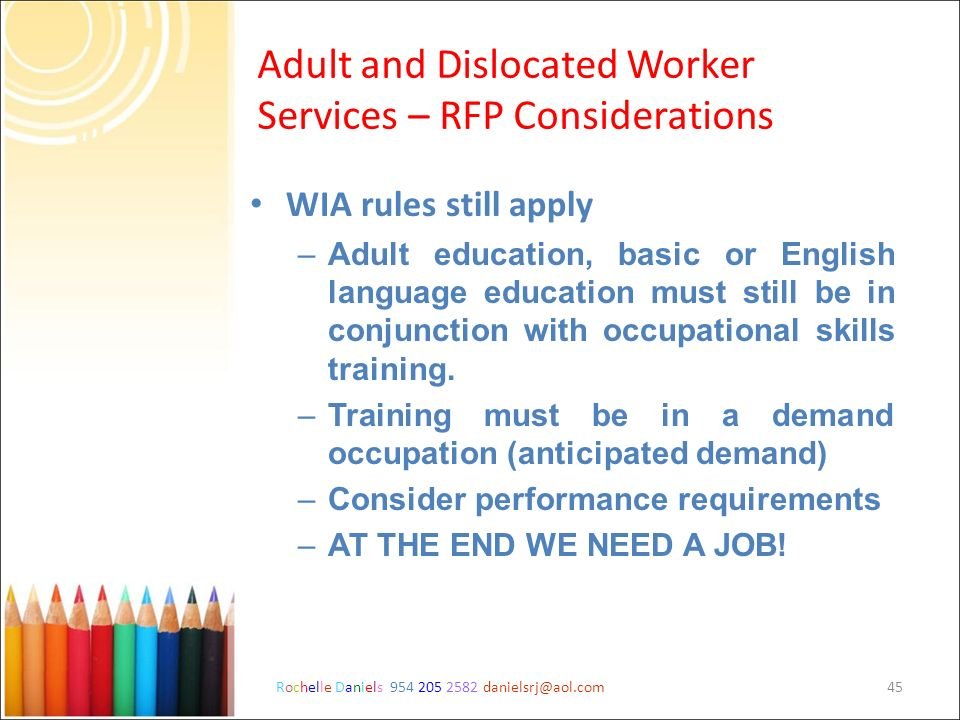 Adult and Dislocated Worker Services – RFP Considerations