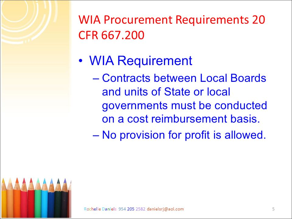 WIA Procurement Requirements 20 CFR 667.200