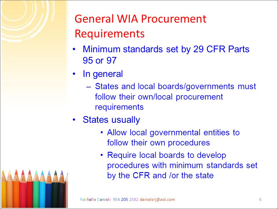 General WIA Procurement Requirements