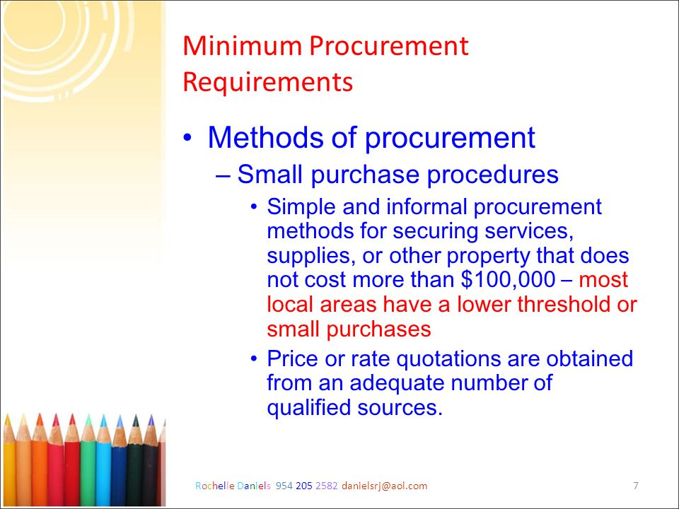 Minimum Procurement Requirements