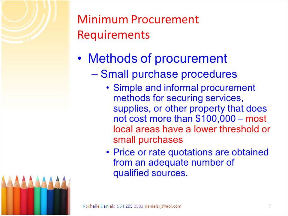 Minimum Procurement Requirements