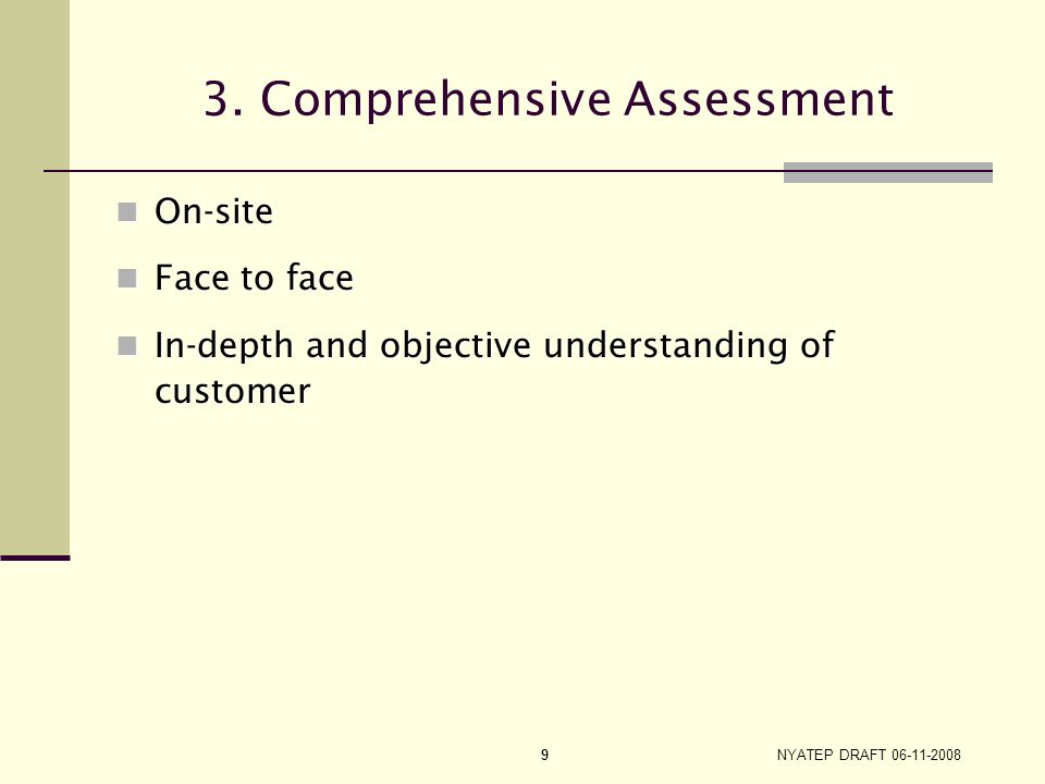 3. Comprehensive Assessment