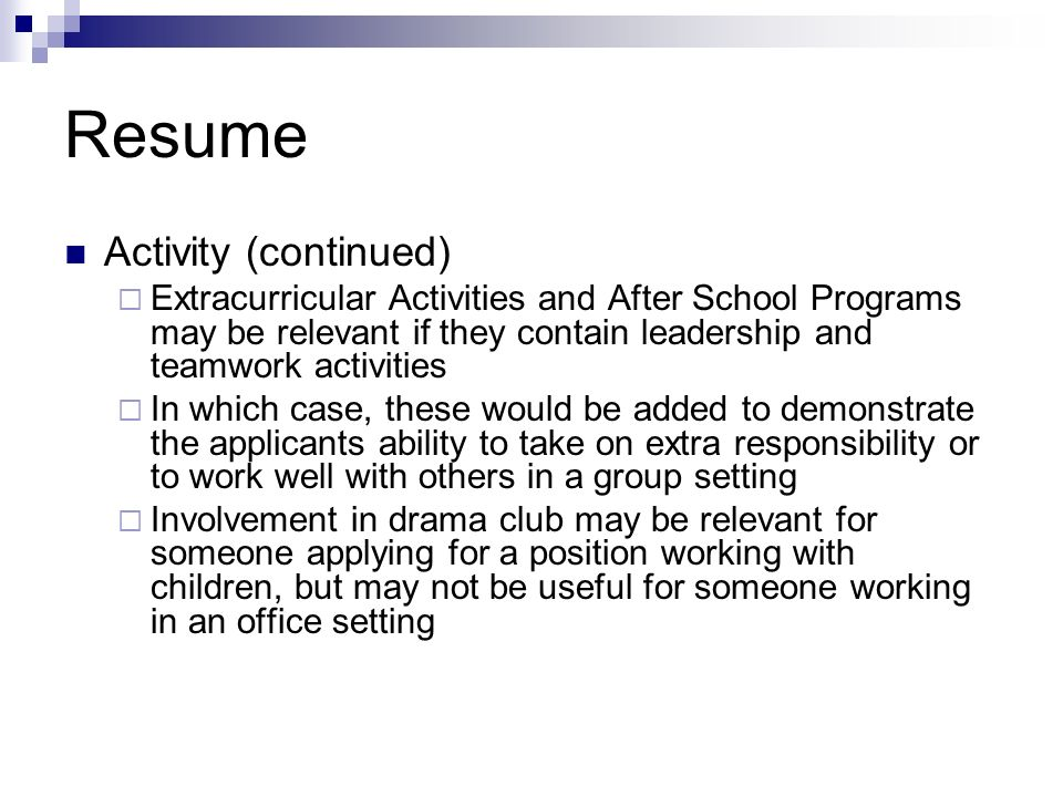 Resume Activity (continued)