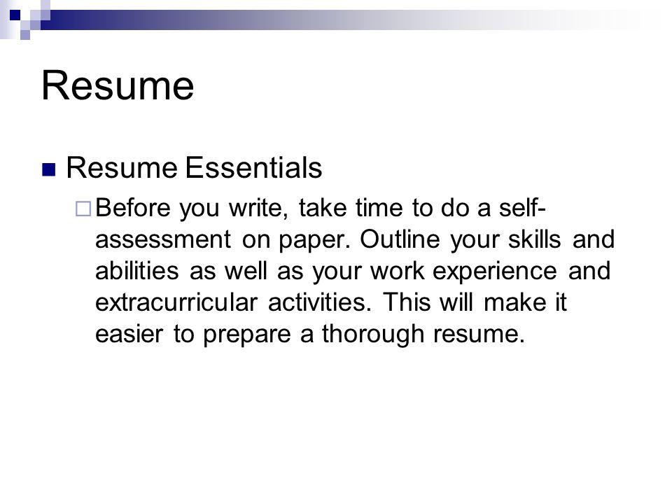 Resume Resume Essentials