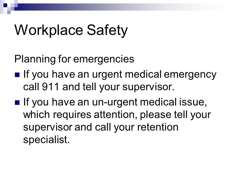 Workplace Safety Planning for emergencies