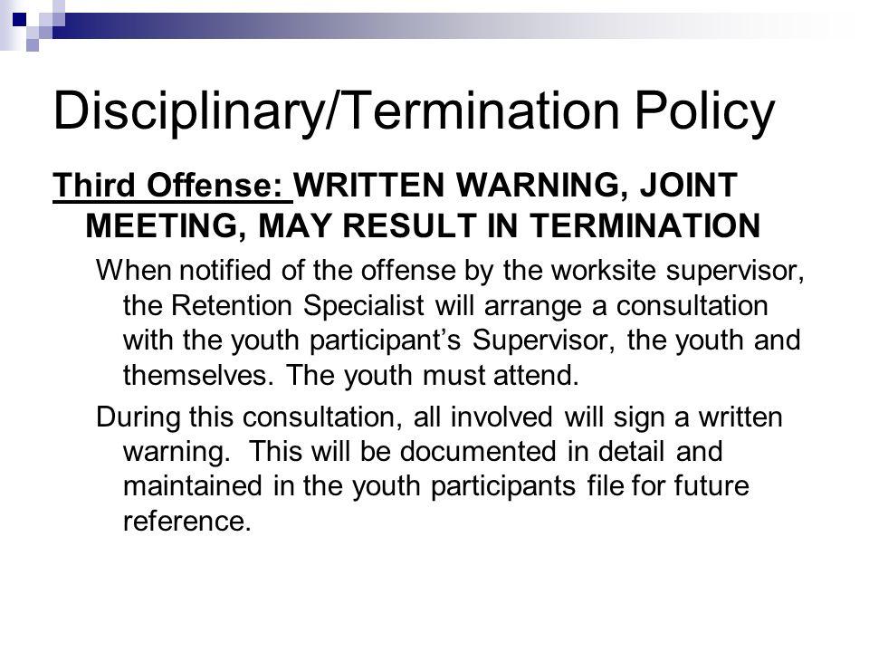 Disciplinary/Termination Policy
