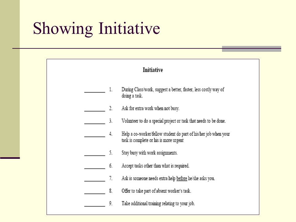Showing Initiative