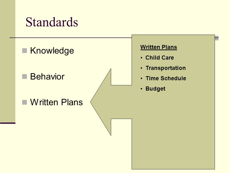 Standards Knowledge Behavior Written Plans Written Plans Child Care