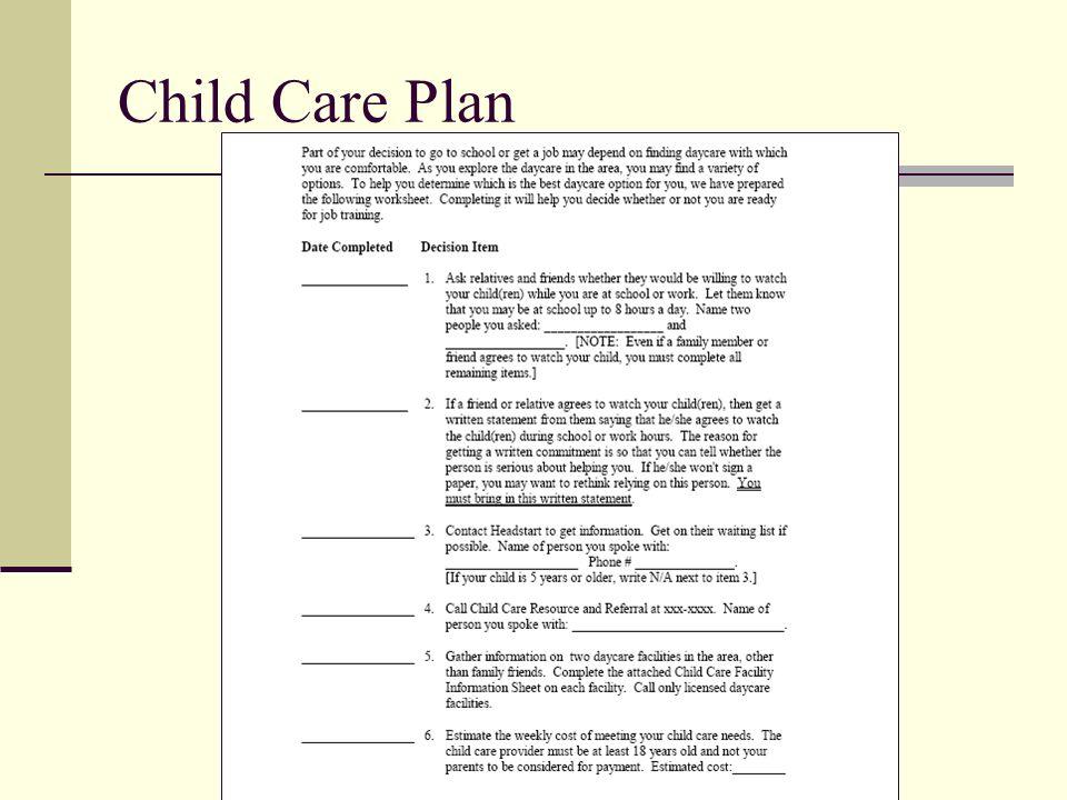 Child Care Plan