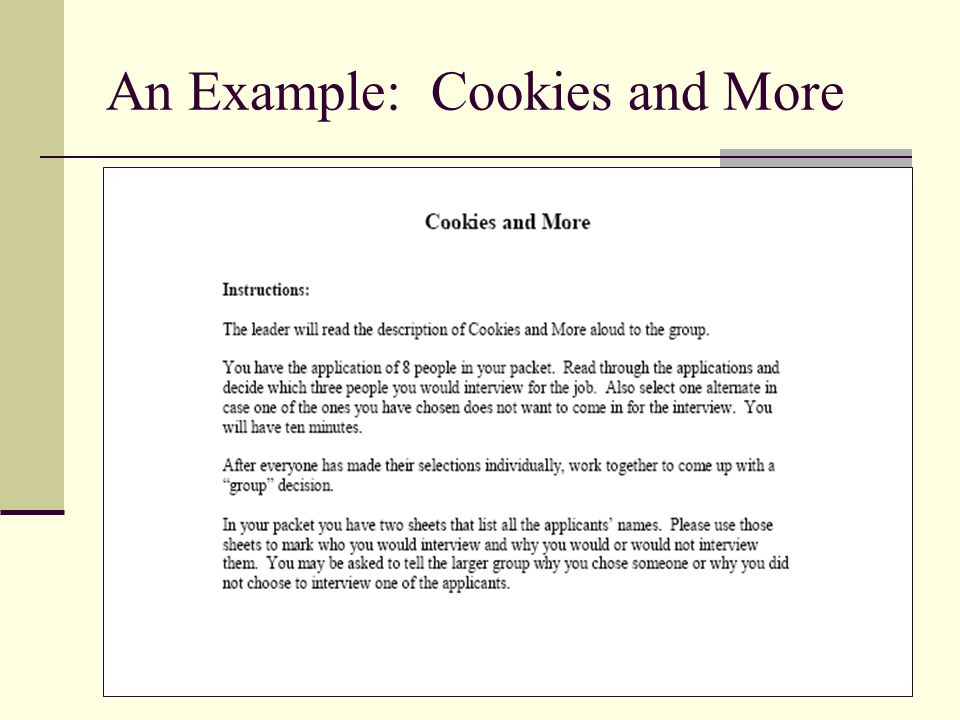 An Example: Cookies and More