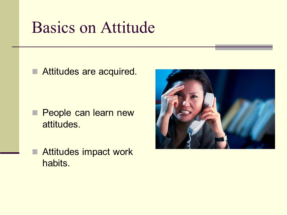 Basics on Attitude Attitudes are acquired.