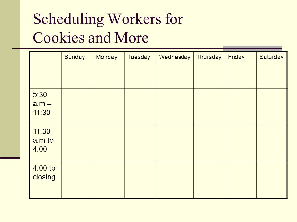 Scheduling Workers for Cookies and More