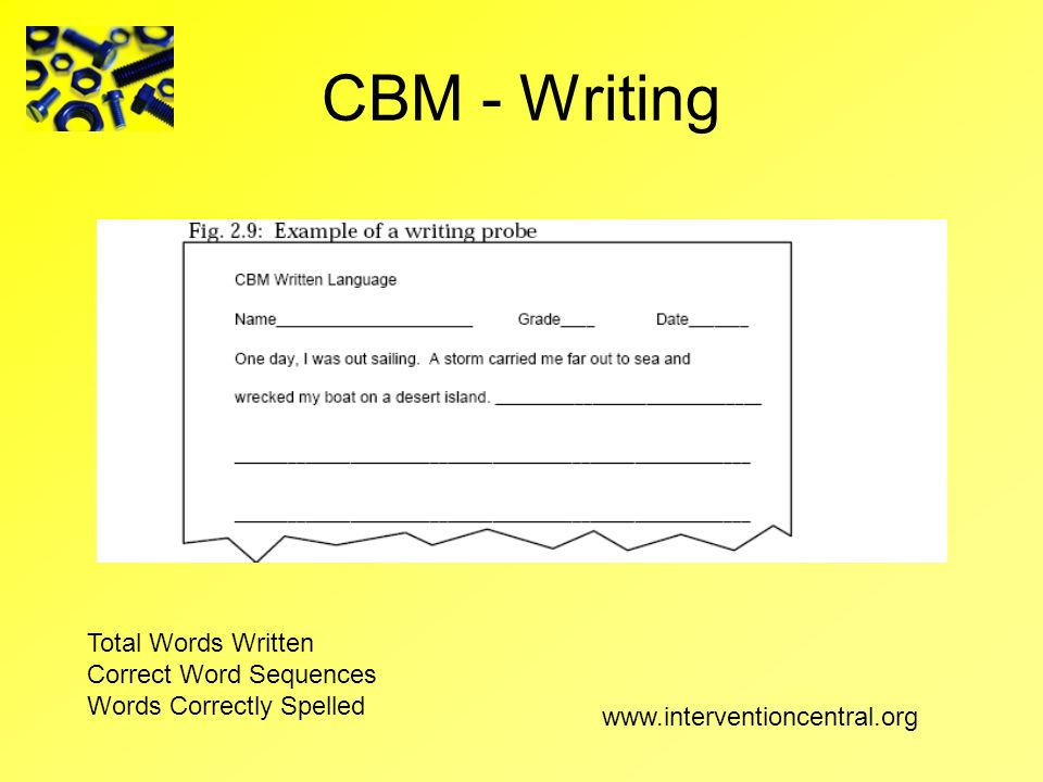 CBM - Writing Total Words Written Correct Word Sequences