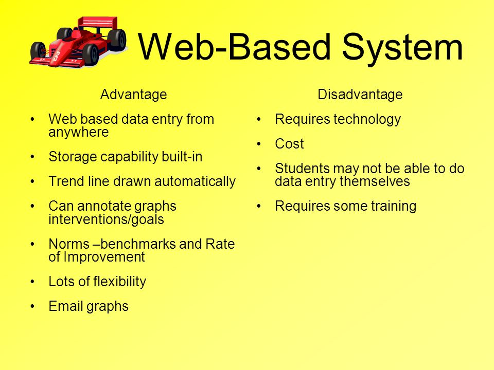 Web-Based System Advantage Web based data entry from anywhere