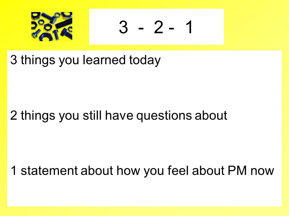 3 - 2 - 1 3 things you learned today
