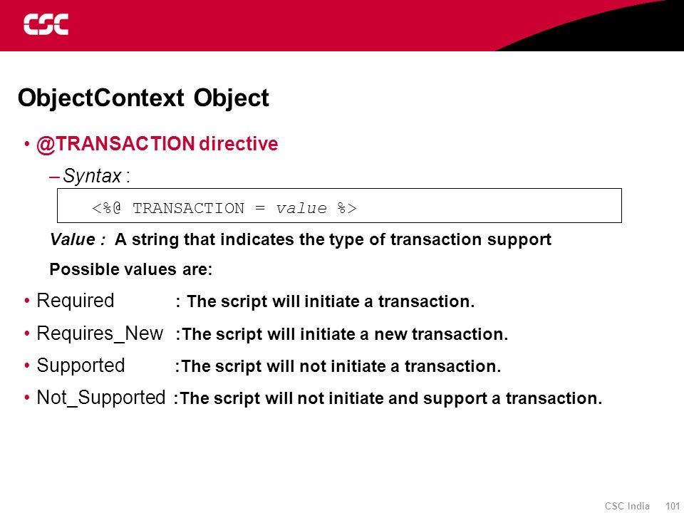 ObjectContext Object @TRANSACTION directive Syntax :