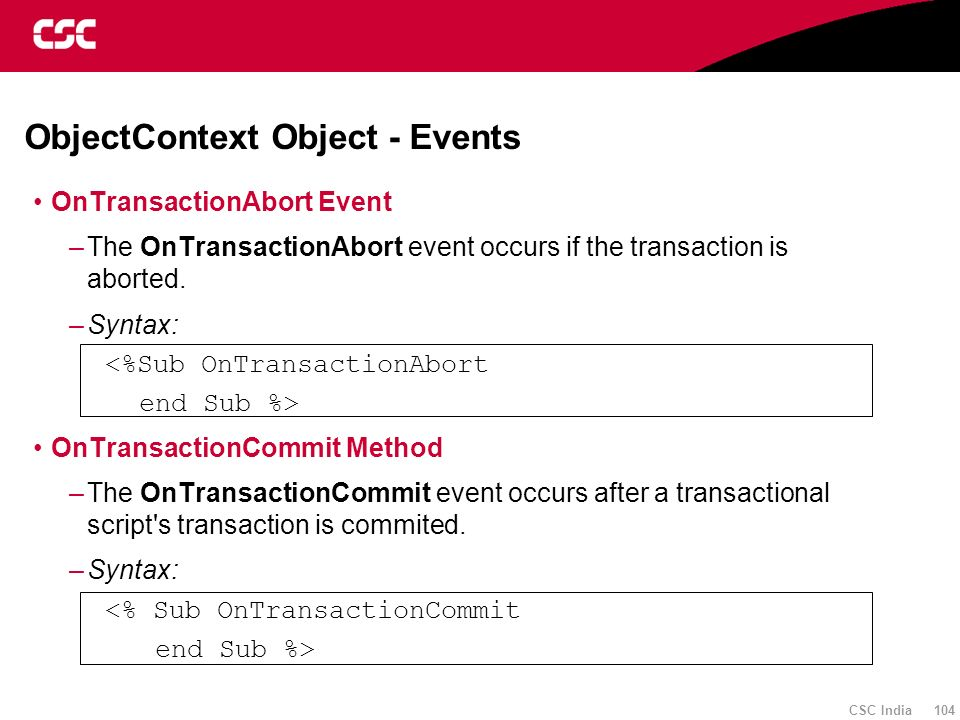 ObjectContext Object - Events