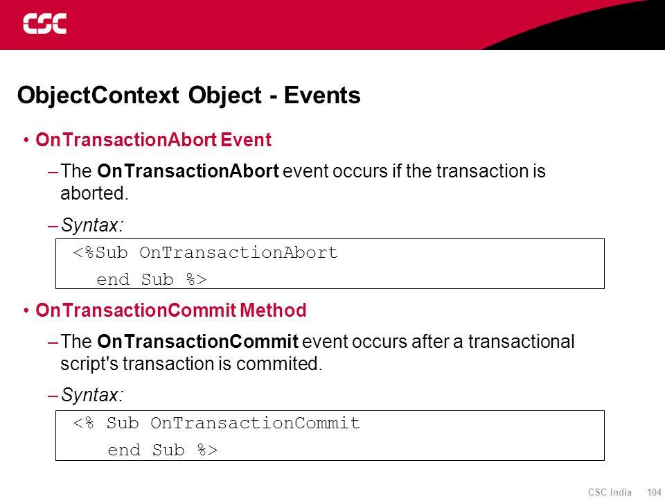 ObjectContext Object - Events