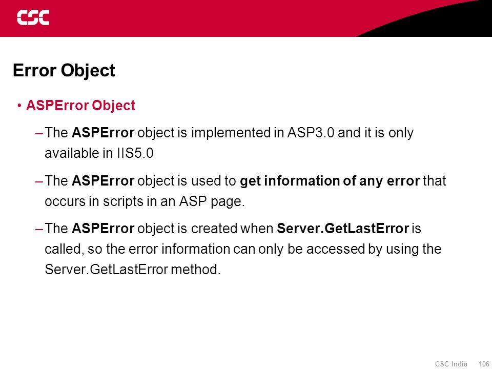 Error Object ASPError Object