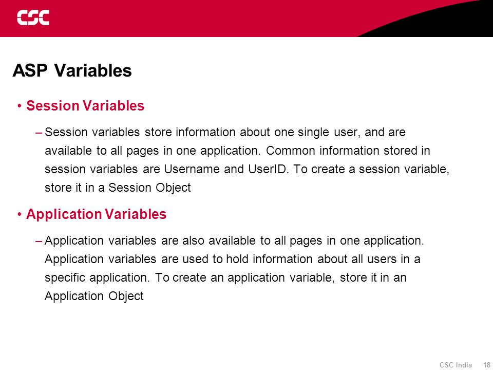 ASP Variables Session Variables Application Variables