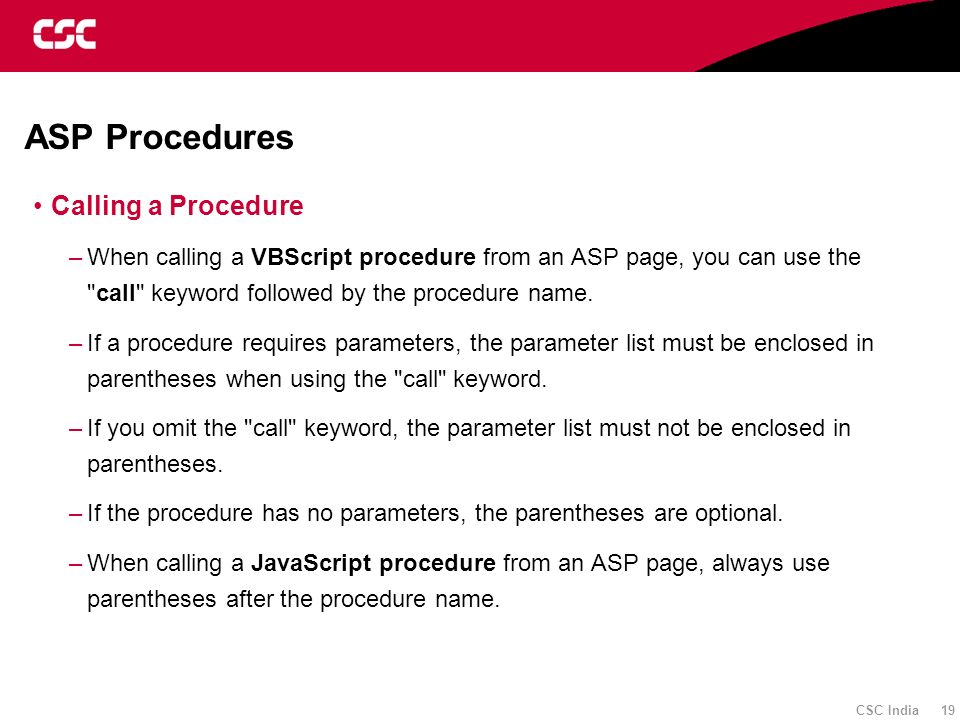 ASP Procedures Calling a Procedure