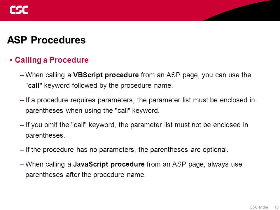 ASP Procedures Calling a Procedure