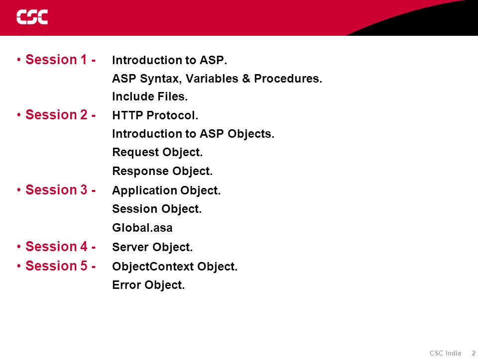 Session 1 - Introduction to ASP.