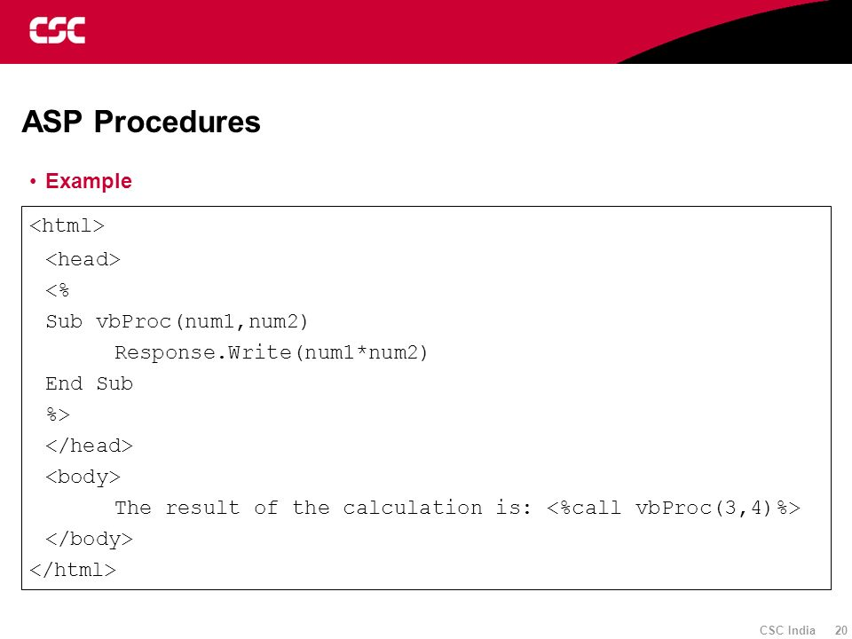 ASP Procedures Example <html> <head> <%