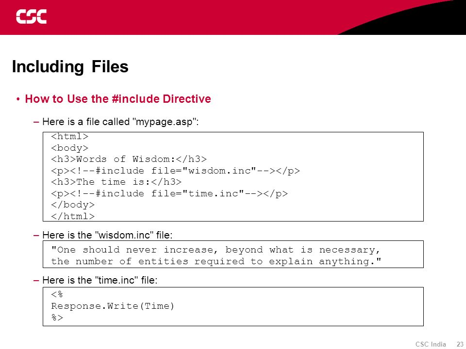 Including Files How to Use the #include Directive