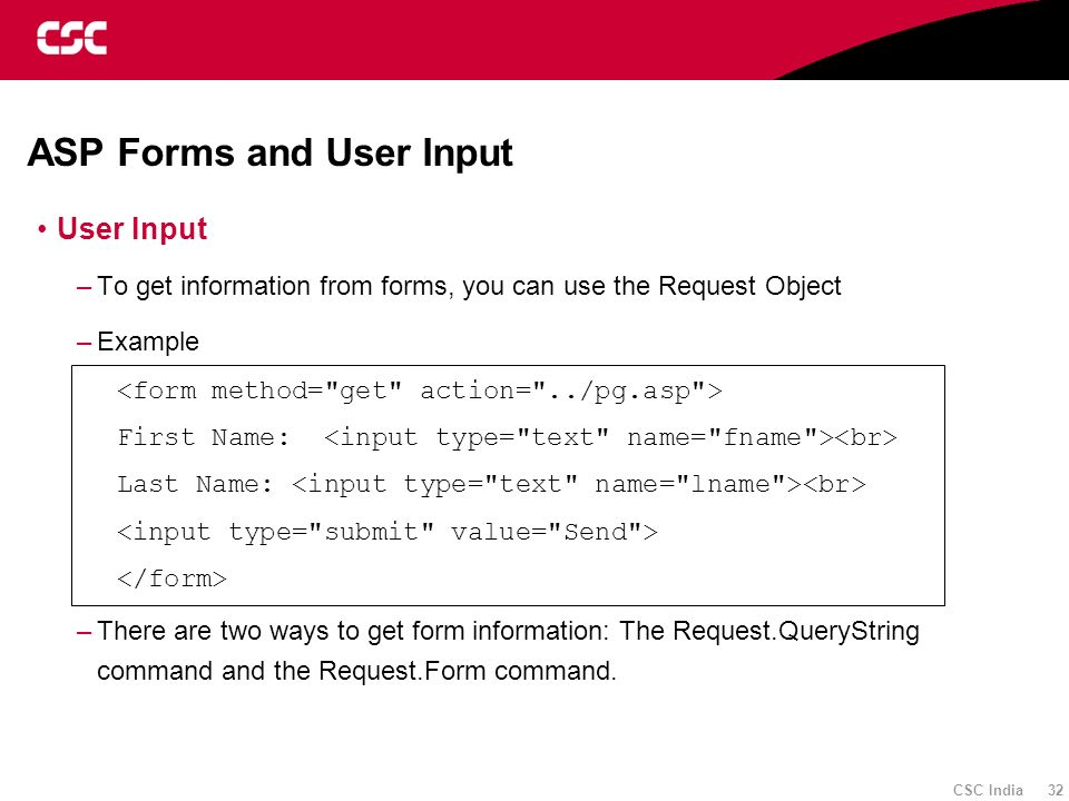 ASP Forms and User Input