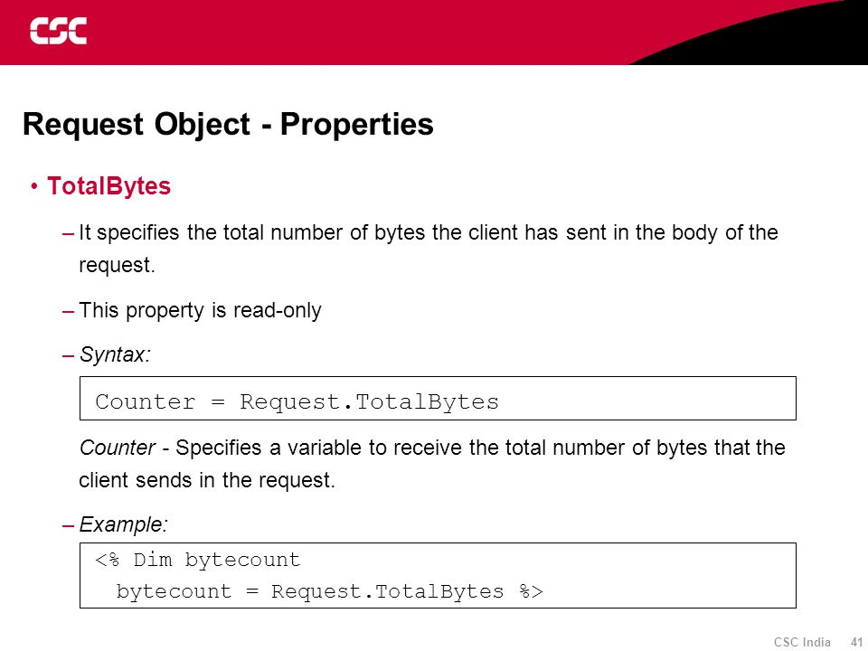 Request Object - Properties
